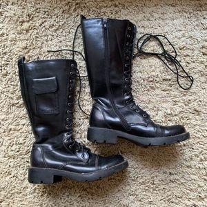 Shoes - Black Lace Up Combat Boots